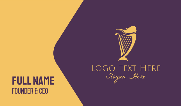 harp - Musical Woman Harp Business card horizontal design