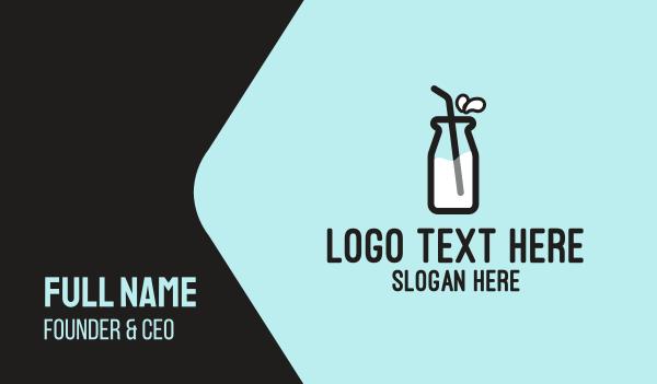 bottle - Milk Bottle Straw  Business card horizontal design