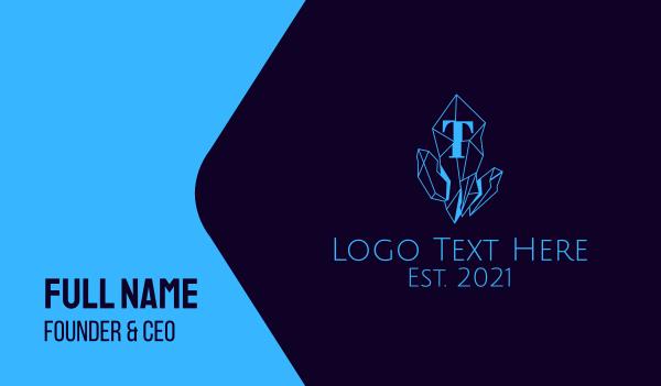 precious gem - Blue Crystal Line Art Business card horizontal design