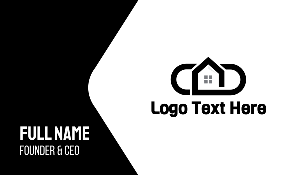 airbnb - Black Oval House Business card horizontal design