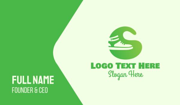 shoemaking - Green Sneakers Business card horizontal design