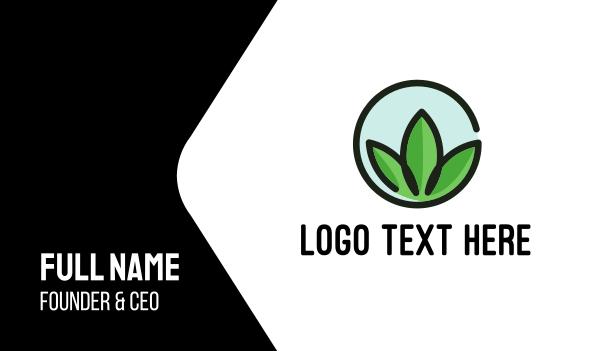 green circle - Green Leaves Circle Business card horizontal design
