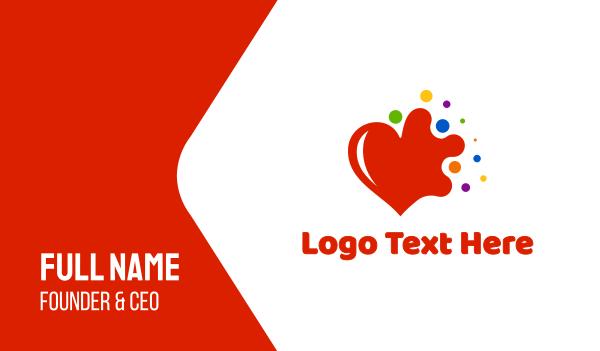 endurance - Colorful Splash Heart Business card horizontal design