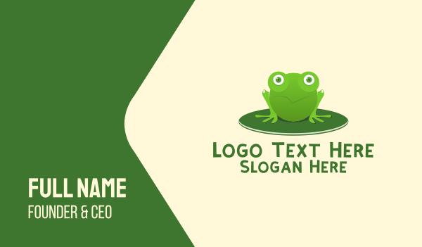 pond - Green Pond Frog Business card horizontal design