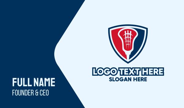 sporting event - Lacrosse Emblem Shield Business card horizontal design