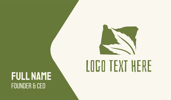 environment - Oregon Map Green Leaf Business card horizontal design