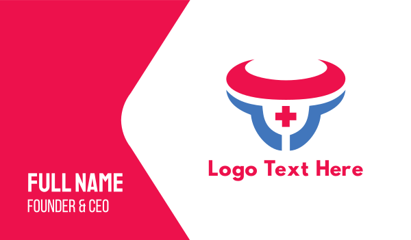 e sports - Abstract Red & Blue Medical Bull Business card horizontal design