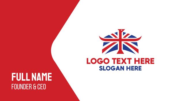 uk - Union Flag Horns Business card horizontal design