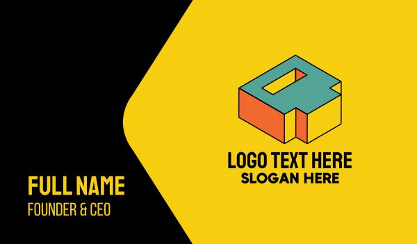 letter d - 3D Pixel Letter D Business card horizontal design
