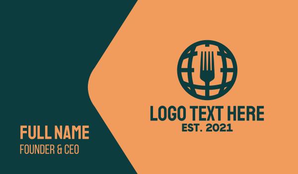 world - International Global Cuisine Business card horizontal design