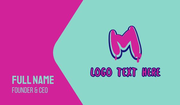 graphic artist - Paint Graffiti Letter M Business card horizontal design