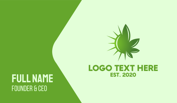 vice - Green Cannabis Sun Business card horizontal design