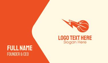 Orange Basketball Lightning  Business Card