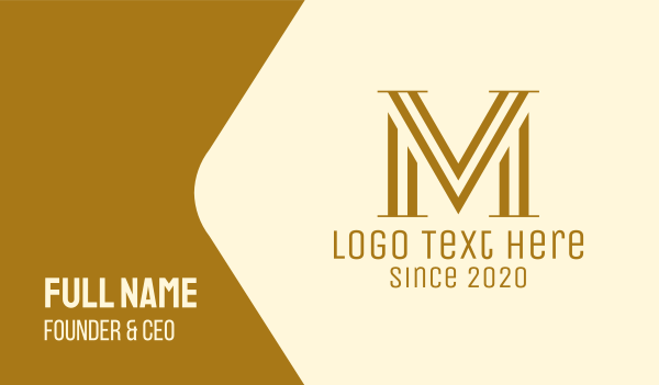 mv - Elegant VM Monogram Business card horizontal design