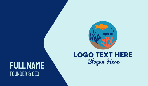 sea creature - Goldfish Fish Bowl Aquarium Business card horizontal design