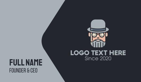 old man - Old Grey Gentleman Spectacles Business card horizontal design