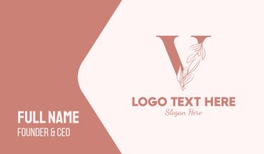 Elegant Leaves Letter V Business Card