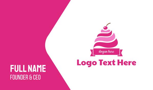 sundae - Cherry Ice Cream Sundae Business card horizontal design