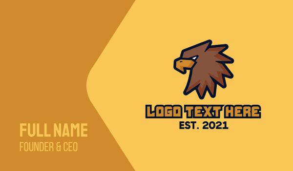 baseball - Brown Eagle Mascot Business card horizontal design