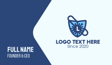 Virus Protection Shield Lettermark Business Card