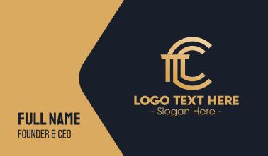 Golden Premium Letter C Column Business Card