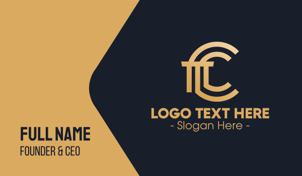 ct - Golden Premium Letter C Column Business card horizontal design