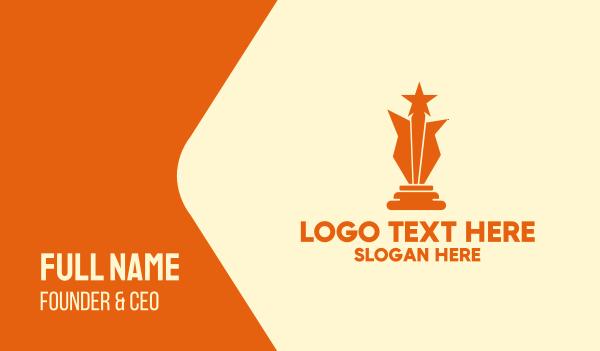 recognition - Orange Star Award  Business card horizontal design