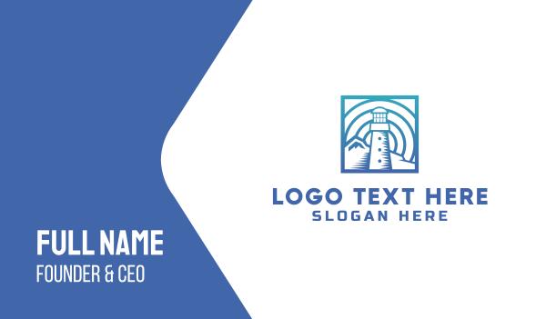 pier - Blue Lighthouse Business card horizontal design