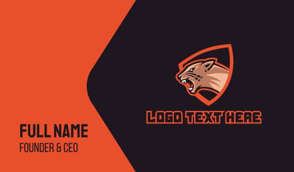 playoffs - Cougar Shield Sport Mascot Business card horizontal design