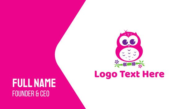 owl - Cute Pink Owl Business card horizontal design