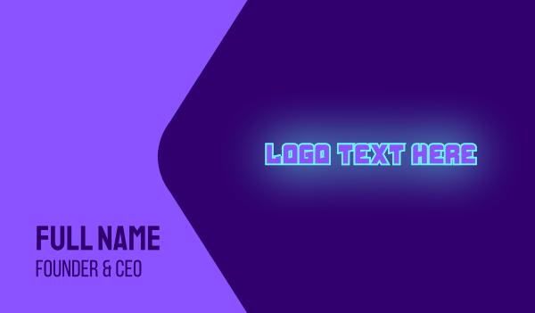 disco bar - Neon DJ Wordmark Business card horizontal design