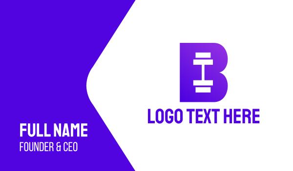 athlete - Violet Barbell B Business card horizontal design