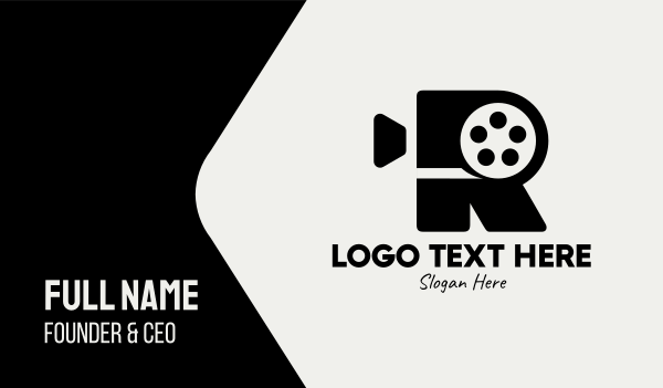 production studio - Film Camera Letter R Business card horizontal design