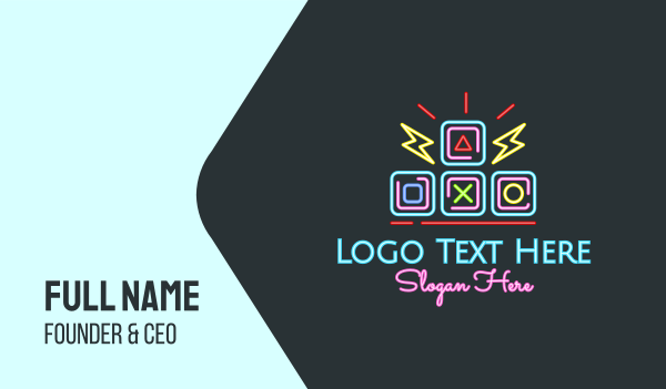 game - Neon Arcade Retro Gaming Business card horizontal design