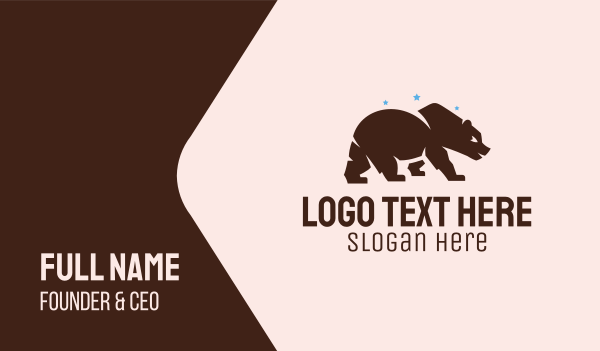 san francisco - Brown Grizzly Bear  Business card horizontal design