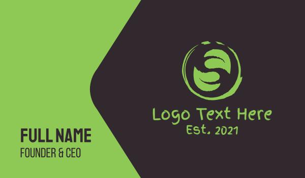green - Green Tea Cafe Business card horizontal design