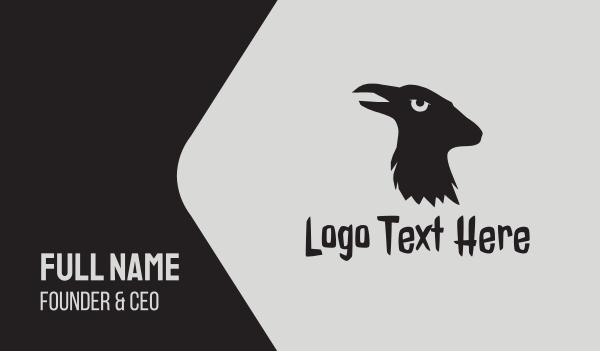 aries - Black Raven Goat  Business card horizontal design