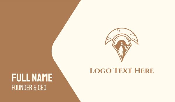 knight - Spartan Helmet Business card horizontal design