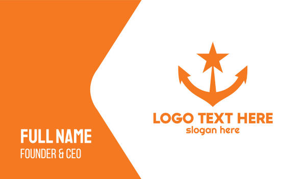 shipping - Orange Star Anchor Business card horizontal design