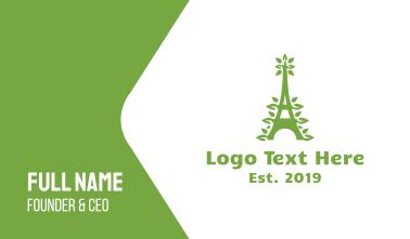 Green Leafy Eiffel Tower Business Card