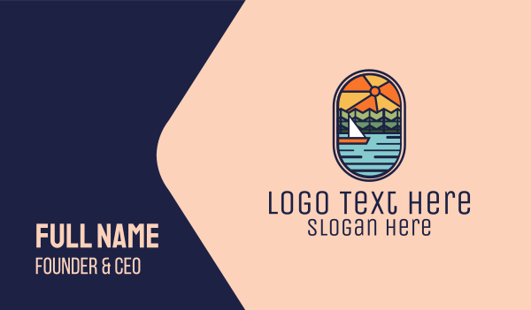 leisure - Lake River Sunset Sailing Cruise Business card horizontal design