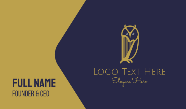 orchestral - Owl Harp Business card horizontal design