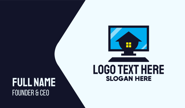 work from home - Home Personal Computer Business card horizontal design