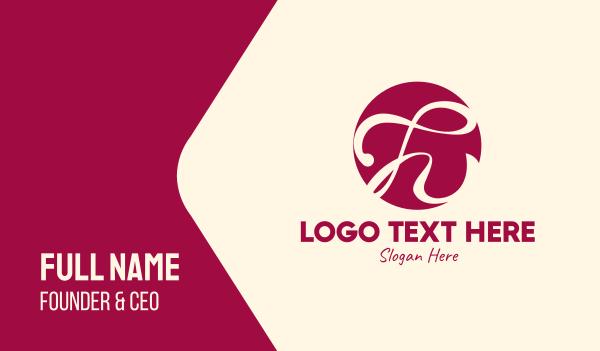 violet - Burgundy Cursive Letter H  Business card horizontal design