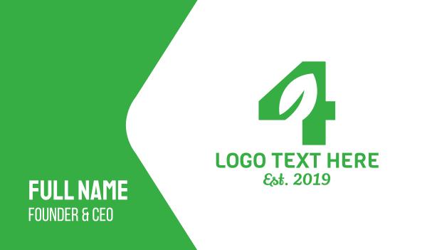 green energy - Green Leaf Number 4 Business card horizontal design