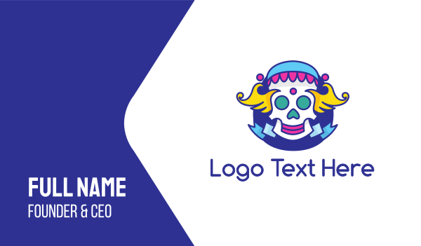 jester - Clown Skull Business card horizontal design
