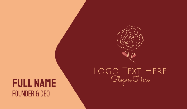 camellia - Rose Bloom Outline Business card horizontal design