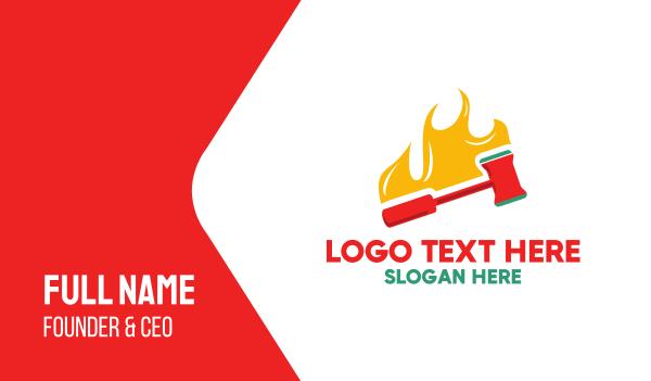 fireman - Hammer Fire Business card horizontal design