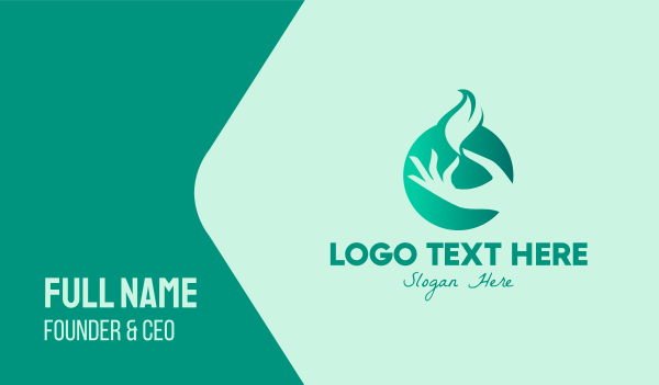 holding - Hand Eco Leaf Business card horizontal design
