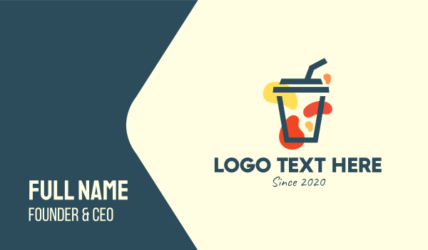 boba tea - Juice Cup Business card horizontal design